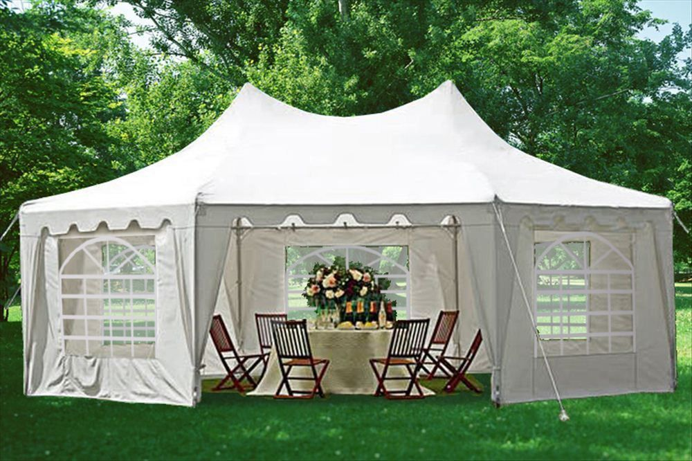 Poly Decagonal 29'x21' White Party Tent Gazebo tent