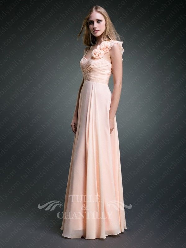 Flattering Floral Appliques Peach One-shoulder Ruffled Evening Gown ...