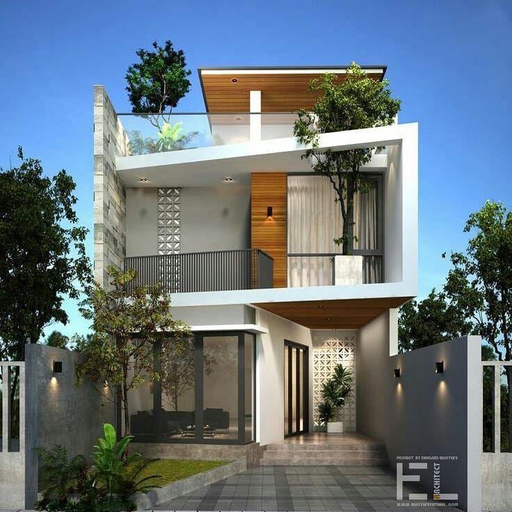 Gambar mungkin berisi pohon, rumah, tanaman, langit dan luar ruangan is part of House design -