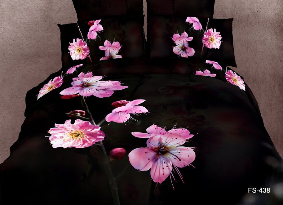 3D Oil Painting Peach Blossom Bedding Set Queen