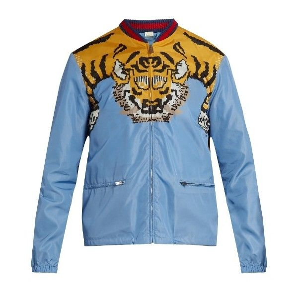 41b37401642b6 Gucci Tiger-print shell bomber jacket ( 1,140) ❤ liked on Polyvore  featuring men s fashion, men s clothing, men s outerwear, men s jackets,  light blue, ...