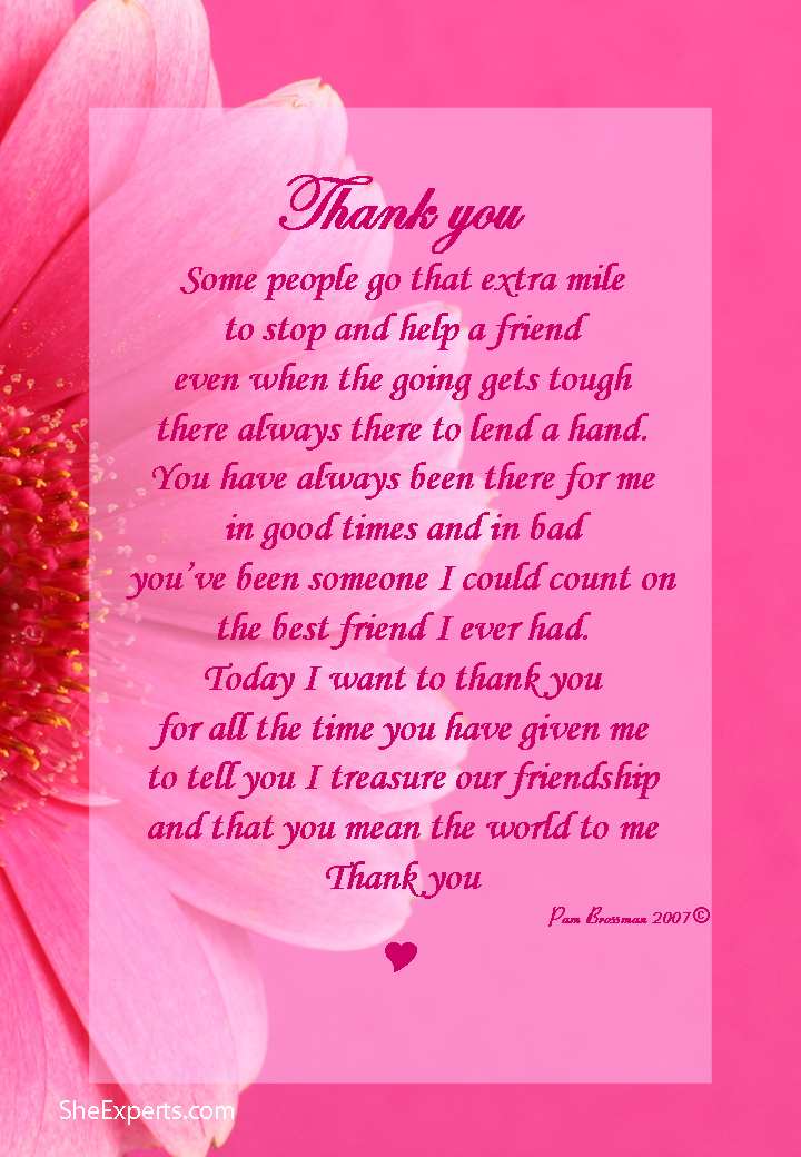 Thank You For Your Friendship Poem Welcome To Repin And Share