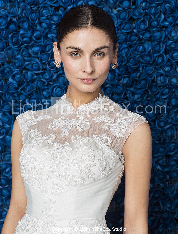 e7cd1b13e Vestido de Boda - Clásico y Atemporal Elegante y Lujoso - Corte Sirena -  Cuello Alto - Barrida (Tul) - USD   199.99