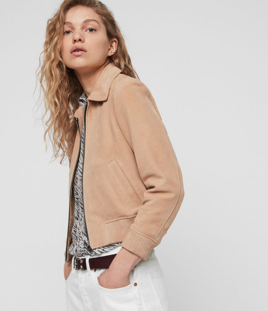 ALLSAINTS US Womens Azari Suede Bomber Jacket (honey