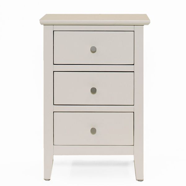 Florida White 3 Drawer Bedside Table
