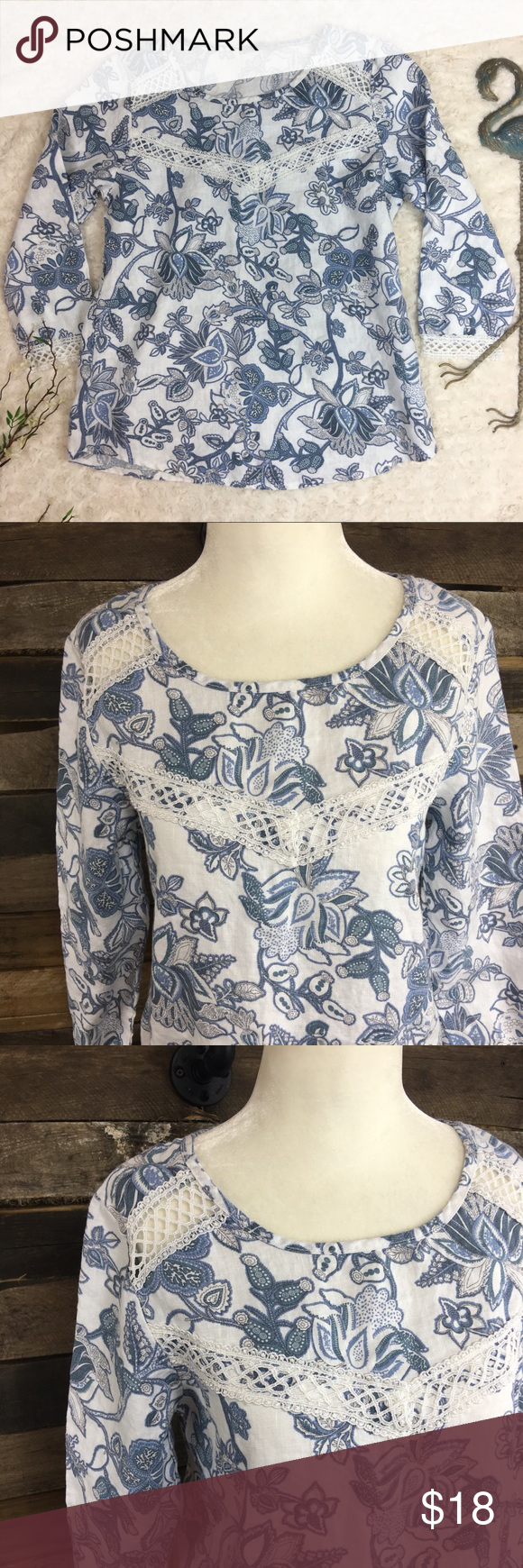 """d58d29f2f78fe3 Elena Baldi Floral Paisley Linen Top Elena Baldi Made in Italy. EUC. Size  Small. 3 4 Sleeve with crochet accent trim. Pit to pit 19"""" and Length 24""""  Elena ..."""