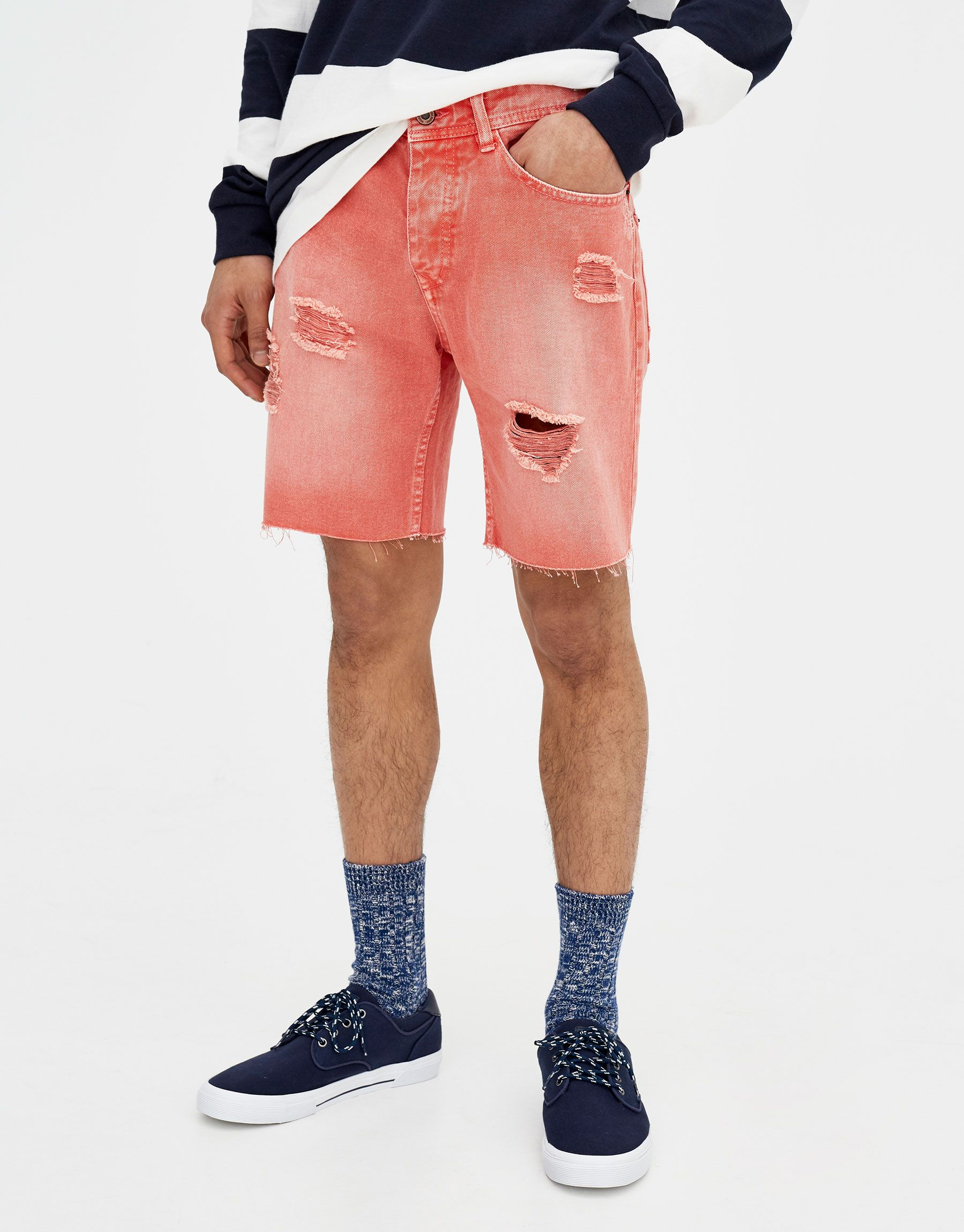 ca6e82bf3c Pull&Bear - man - teen collection - coloured bermuda shorts with rips - red  - 05696516-V2018