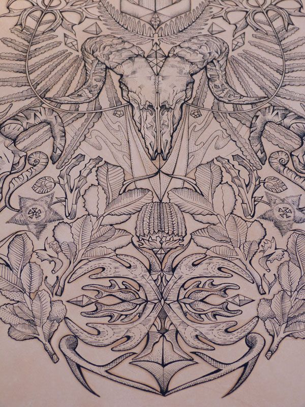 close up a3 tattooed onto leather with tattoo machine and 1 needle tooled and burnished. Black Bedroom Furniture Sets. Home Design Ideas