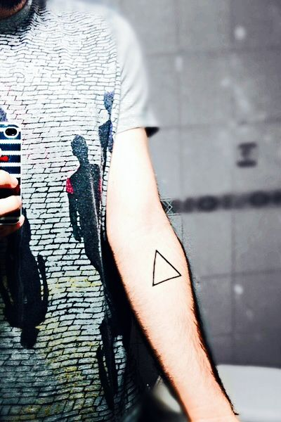 My triangle tattoo meaning change and fire..