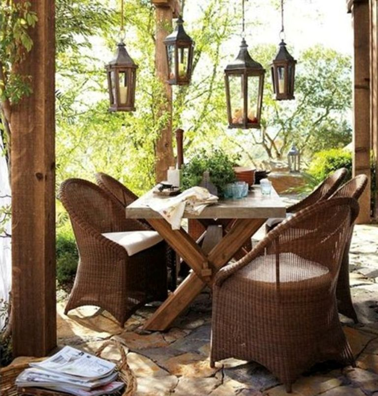 Furniture, Rustic Coffee Table With Cute Rattan Chairs And ...