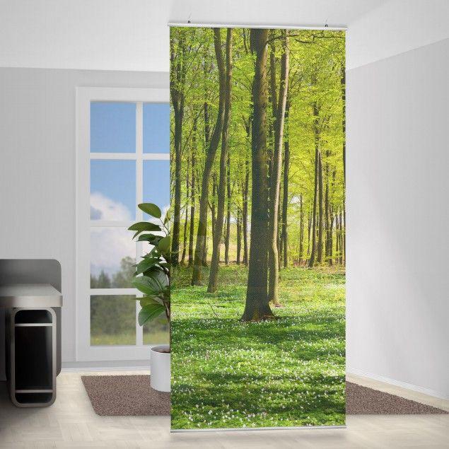 raumteiler vorhang wald wiese 250x120cm textilen raumteiler raumtrenner - Raumtrennvorhnge