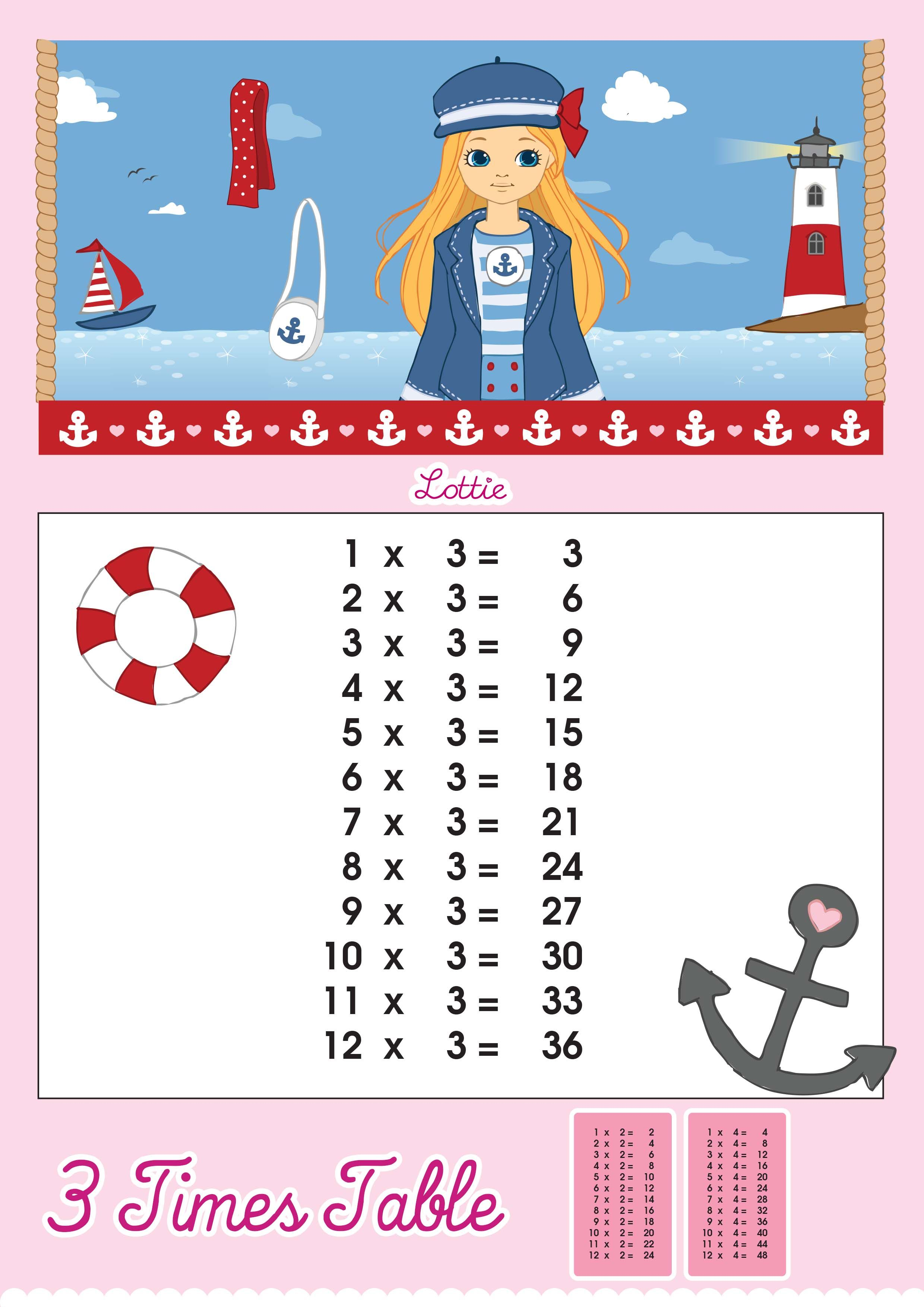 Lottie Doll Printable 3 Times Tables 2 480 3 507