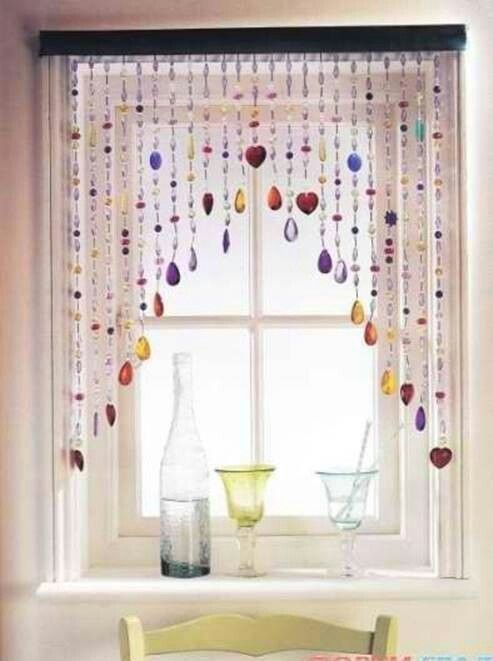 Beaded curtains make with glass beads sea shells sea for Creative window designs