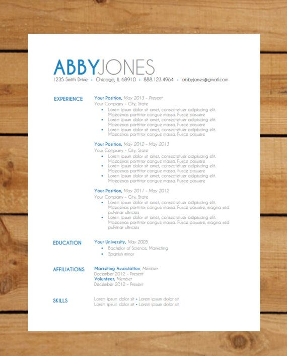 Resume Template Instant Word Document Download Modern Resume