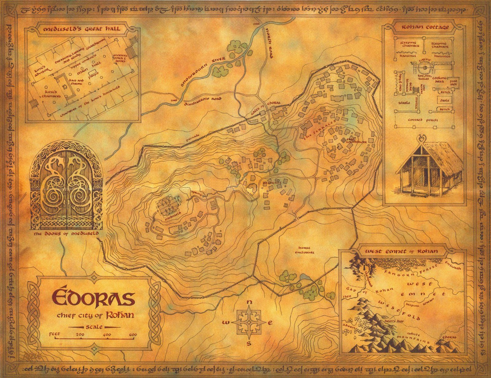 map of Edoras in Rohan from the Lord of the Rings by JRR Tolkien