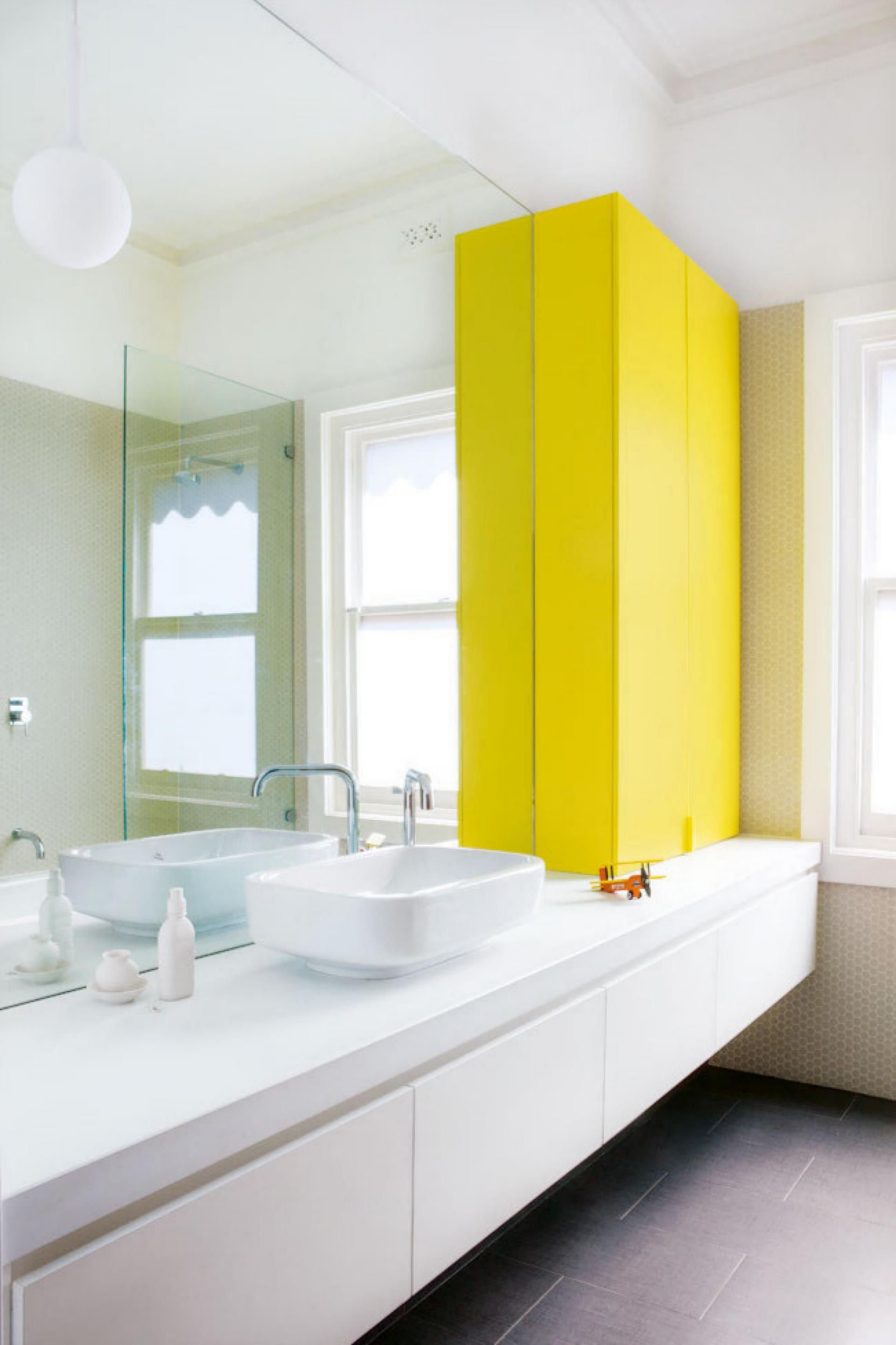 bright | yellow | white | grey | mixed texture | floating vanity ...