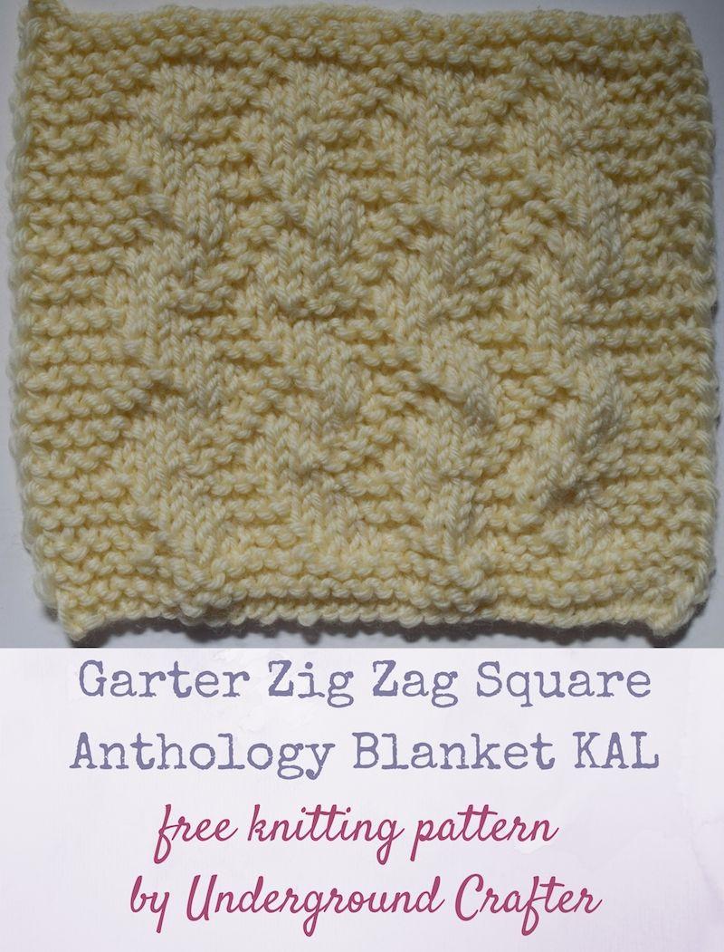 Garter Zig Zag Square, free knitting pattern   Knitting ...