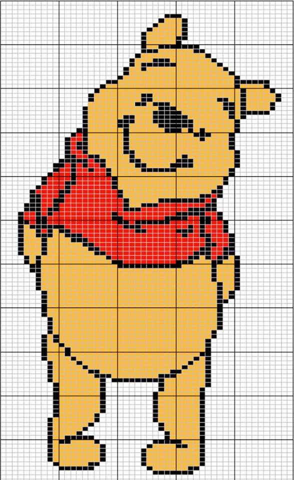 Winnie l'ourson | Winnie l'ourson, Point de croix, Modèles à tricoter