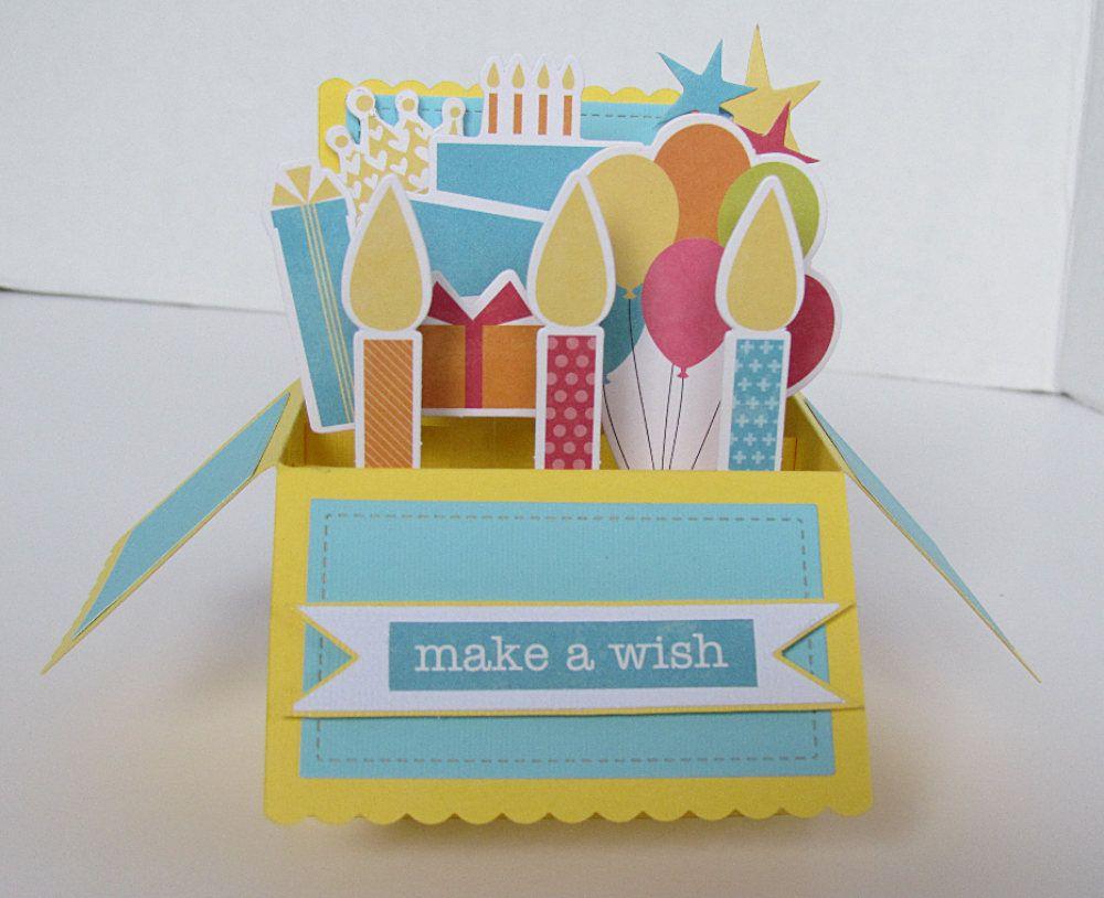 Pop Up Box Card Happy Birthday Candles Birthday Cake Balloons Handmade Pop Up Birthday Card Unisex Unique Make A Wish Birthday Pop Up Box Cards Cat Birthday Card Happy Birthday Cards