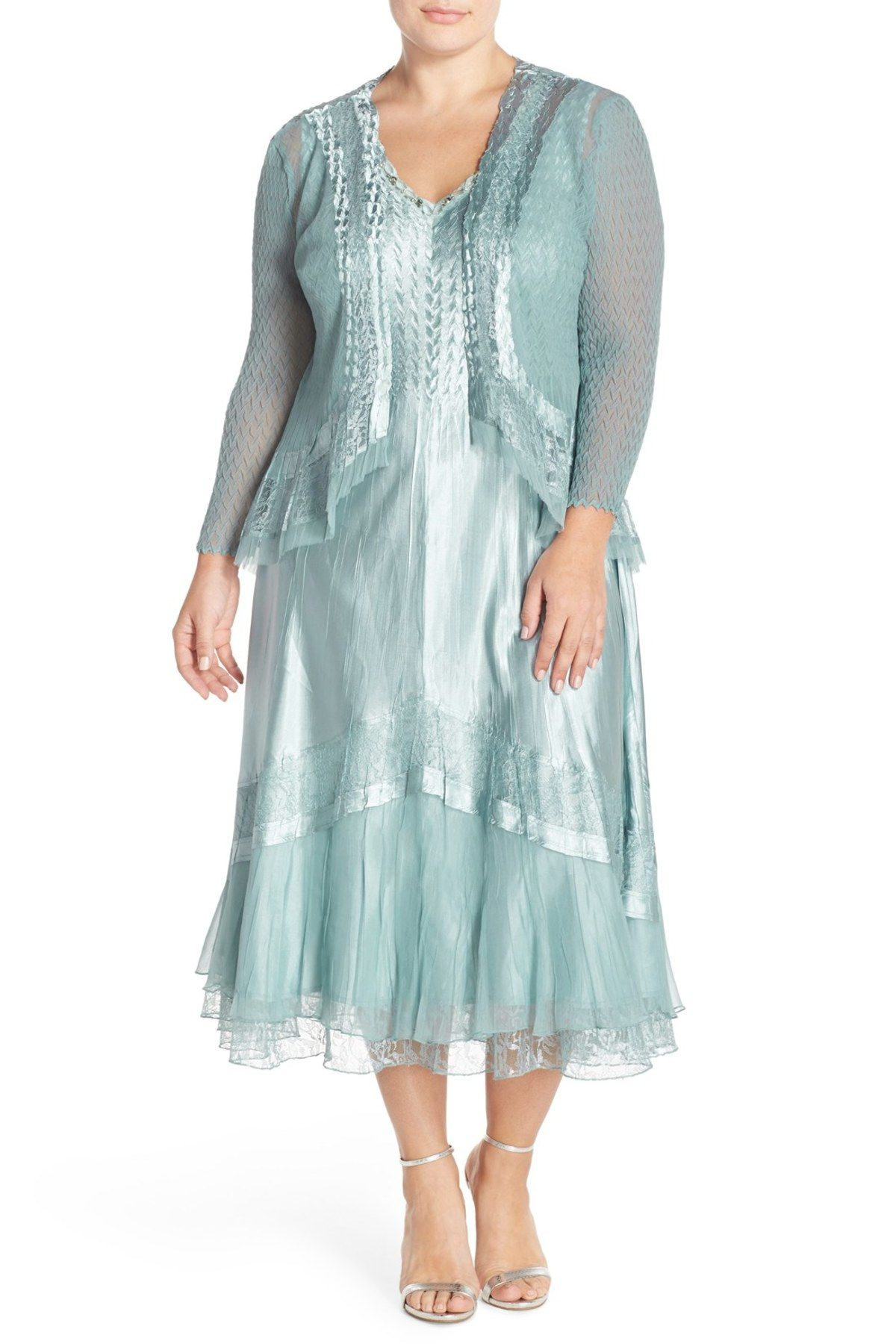 2853cea2dc3 Lace Inset Charmeuse Dress   Chiffon Jacket (Plus Size)
