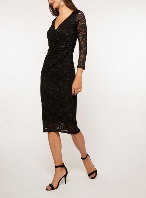 35f4467ddc9 Womens   Billie   Blossom Tall Black Lace Pencil Dress- Black