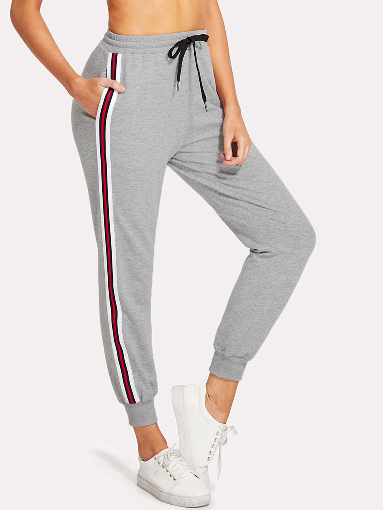 d8a4a44659a5 Striped Tape Side Drawstring Sweatpants -SheIn(Sheinside)   outfits ...