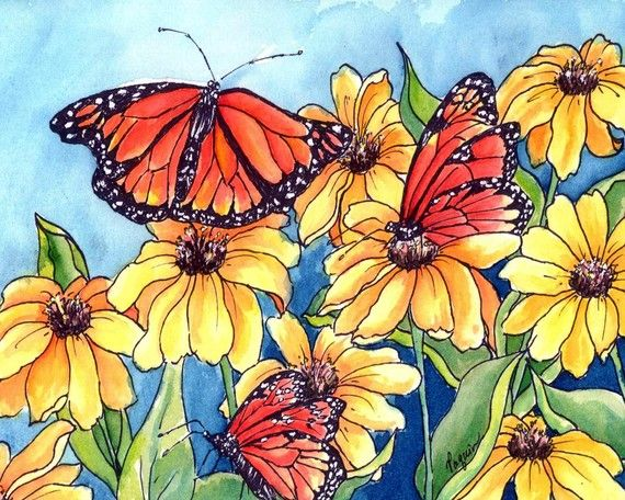 Yellow Flowers Monarch Butterflies Watercolor Art Print On Plaque On Etsy Floral Prints Art Butterfly Art Print Watercolor Art Prints