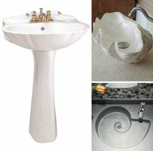 Etonnant Shell Shape Sinks...  Http://www.completely Coastal.com/2017/06/coastal Bathroom Sink.html Shell  Shaped White Pedestal Sink, Clam Shell Sink... And More.