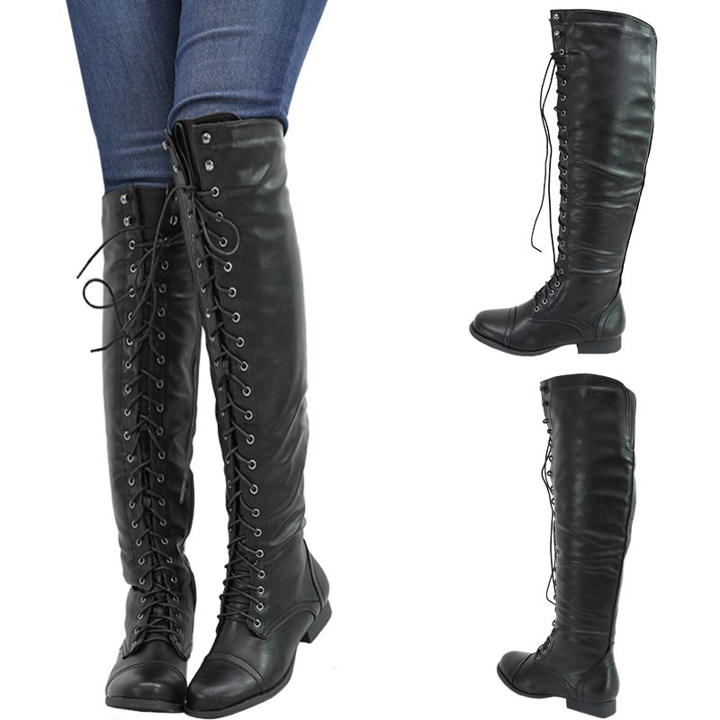 1452e866eb1 LACE UP OXFORD MILITARY COMBAT RIDING LOW FLAT HEEL OVER KNEE THIGH WOMENS  BOOTS jeans