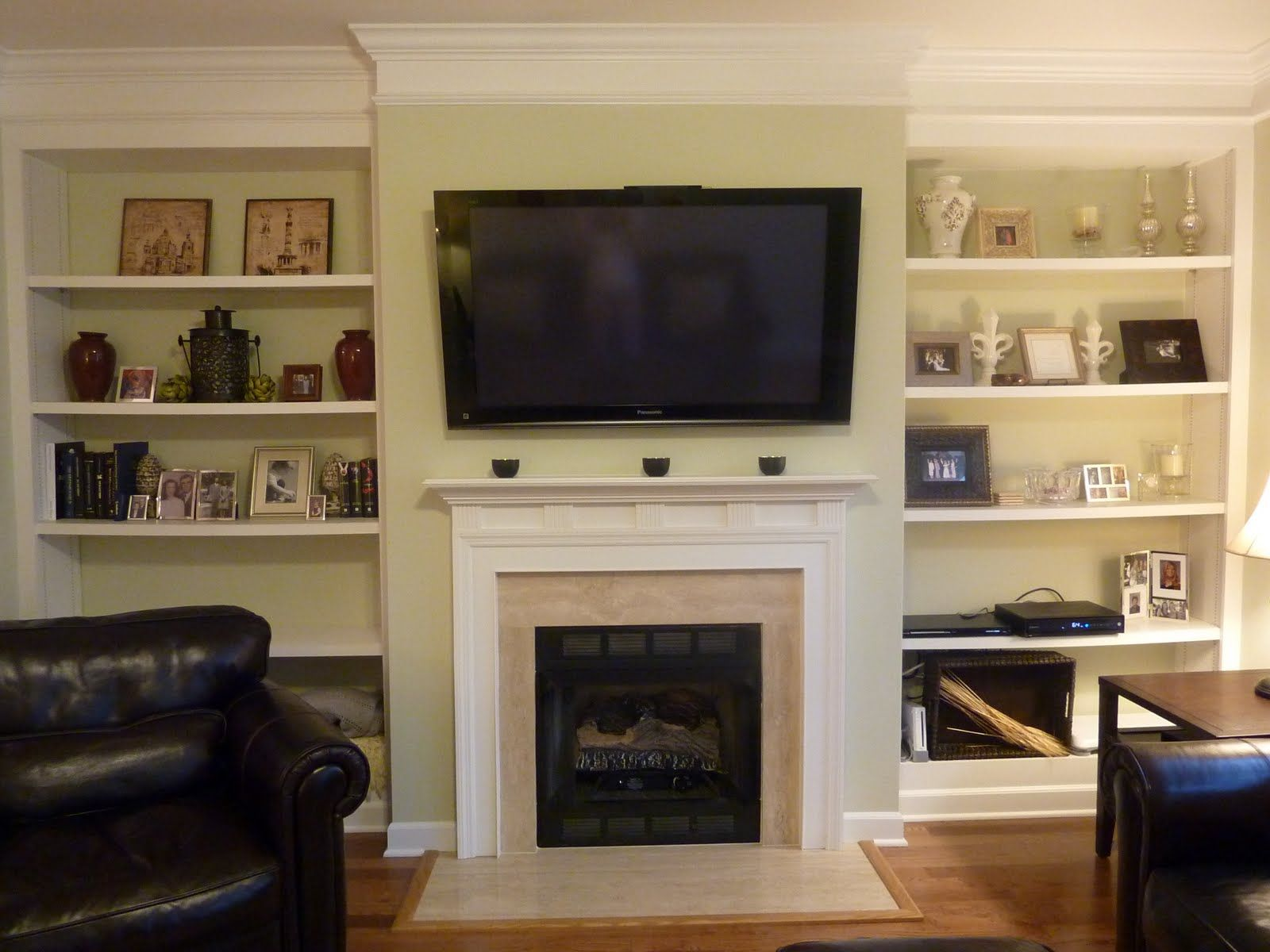 Built In Shelves Surrounding Fireplace - The Living Room Has Great