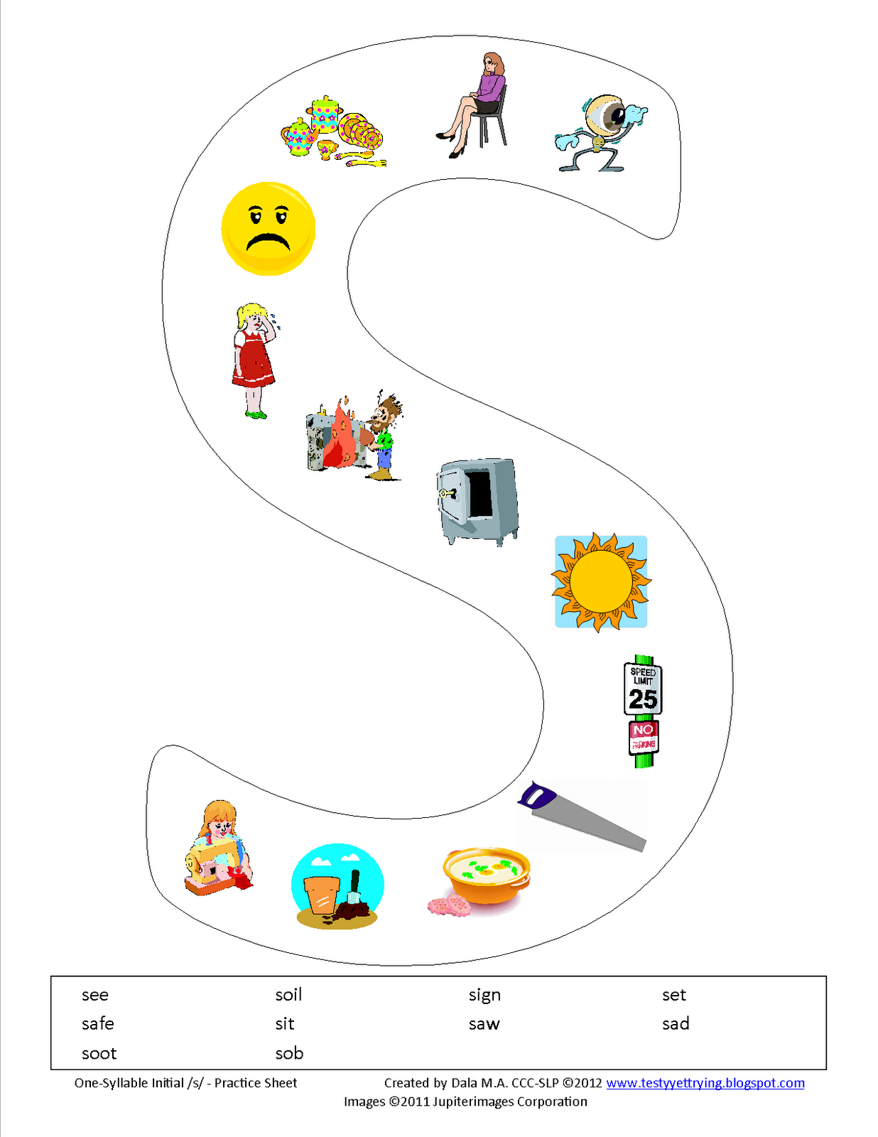 Initial S Printable Worksheet use this as an idea to make other – S Articulation Worksheets