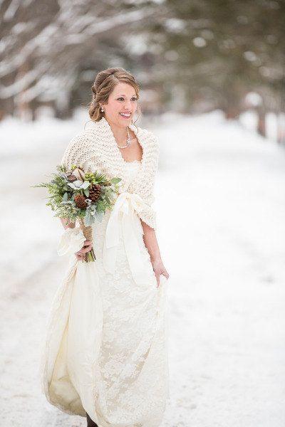 Wedding Shawl Bridal Cape Winter Shrug Ivory Rustic Wrap Cover Up