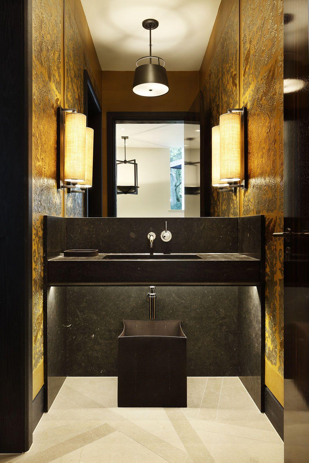 Waschtisch Schwarz Bernstein Badezimmer Einrichtung Haus Wandgestaltung