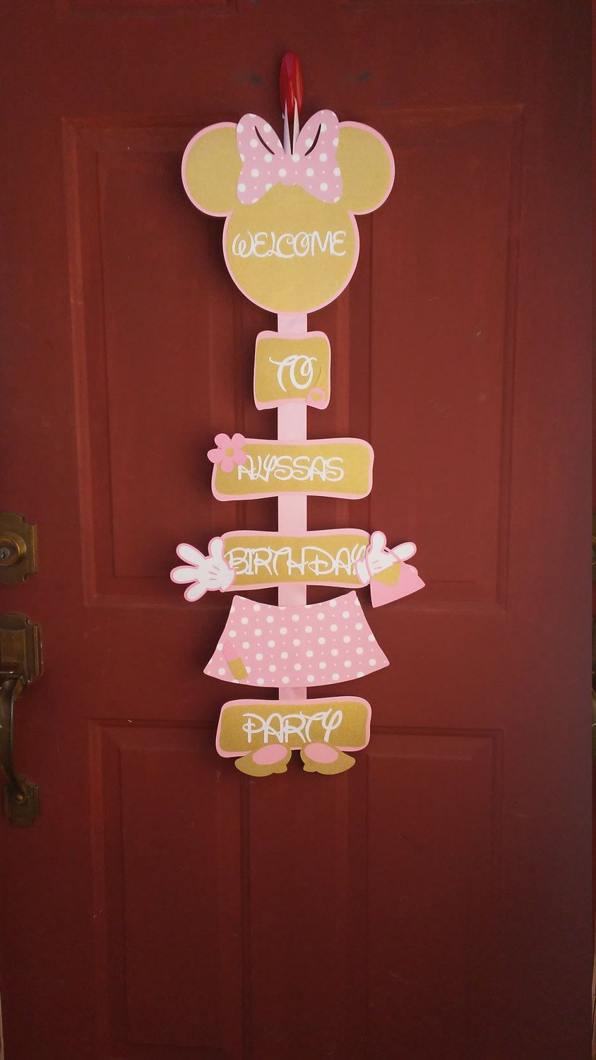 Minnie Mouse Light Pink And Gold Door SignMinnie Party Decorations Birthday Sign By CnCpartycreations On Etsy