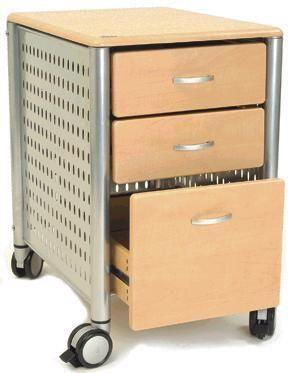 Elegant Innovex DL KM02 4983 Three Drawer Mobile File Cabinet In Maple, Powder  Coated
