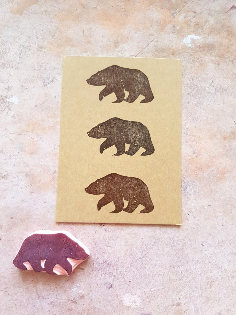Brown bear rubber stamp for traveler's journal, wild animal stamp for cardmaking, woodland craft, forest life scenery, elementary teacher #rubberstamping