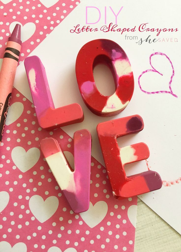 Love Letter Shaped Crayons for Valentines Day  Easy Valentines