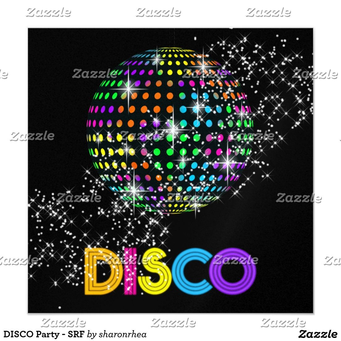 DISCO Party - SRF 13 Cm X 13 Cm Square Invitation Card | Soirée ...