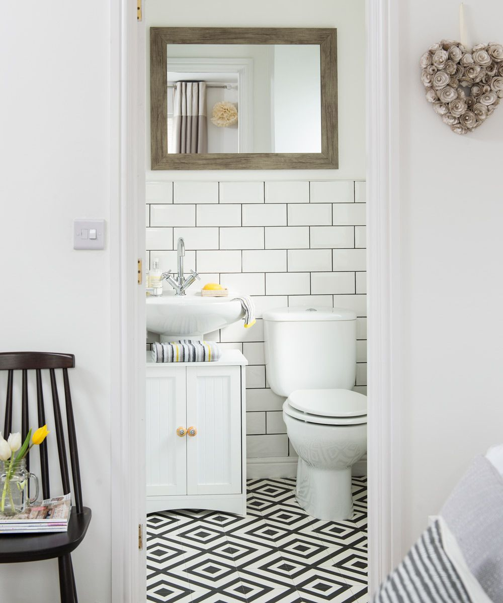 After Downstairs Toilet Ideas And Cloakroom Ideas Find Your Ideal Style Small Cloakroom With These Beaut Funky Bathroom Downstairs Toilet White Bathroom Tiles