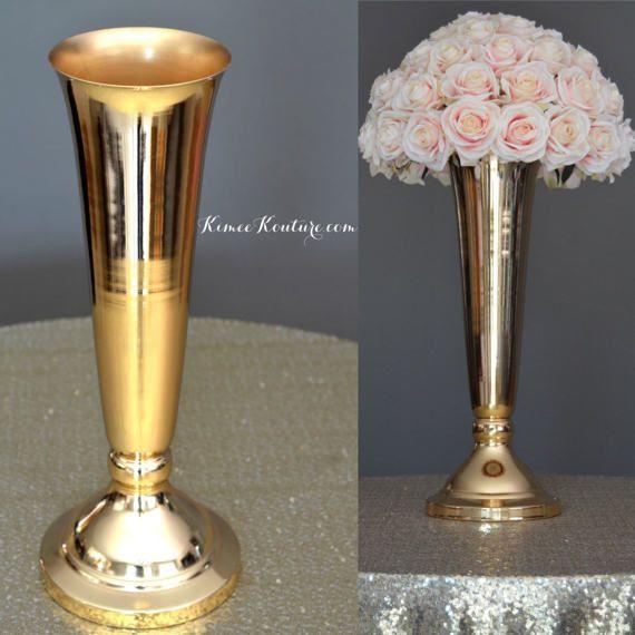 80cm Tall Wedding Flower Vase Metal Trumpet Vase For: GOLD Trumpet Vase. Metal Trumpet Vase. Flower Ball By