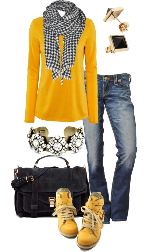 nice yellow shirt and black and white scarf