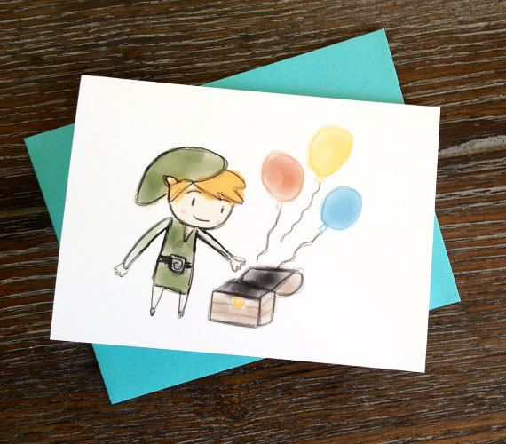 Legend Of Zelda Toon Link Birthday Card Zelda Birthday Pinterest