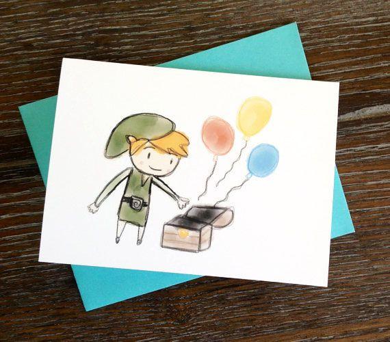 Legend Of Zelda Toon Link Birthday Card