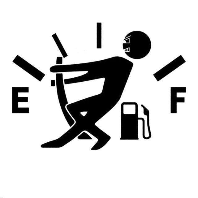Out of Gas Funny Car Sticker Decal 12.7cm x 9.2cm High Gas Consumption