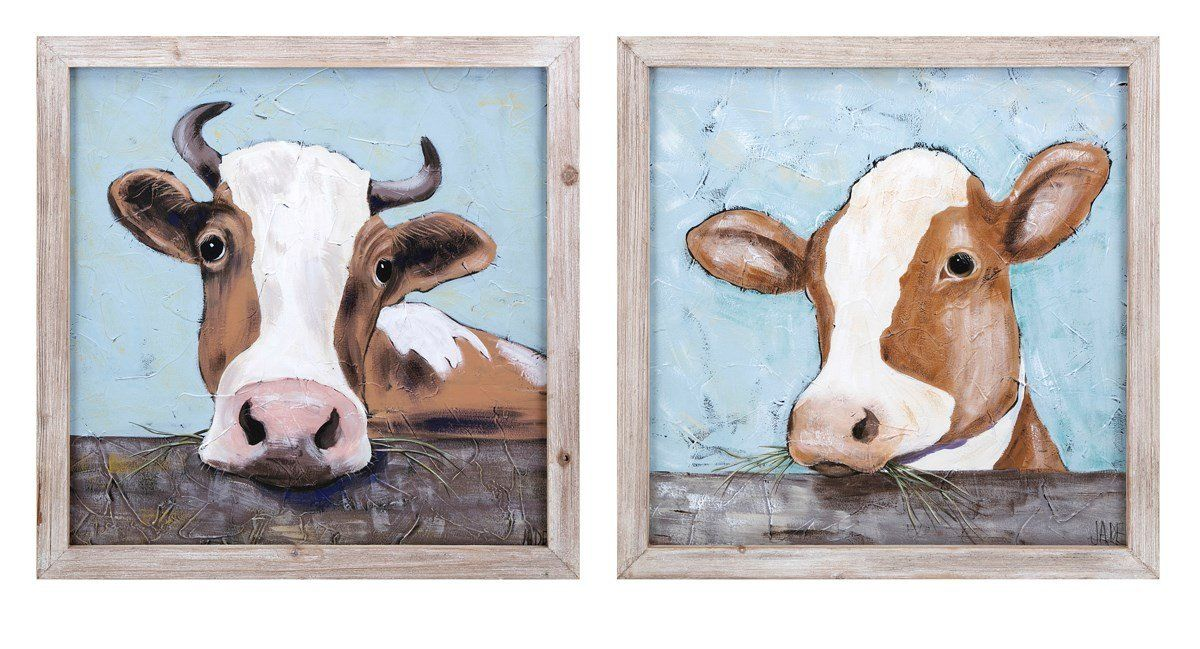 You Can T Call It A Farmhouse Until You Have A Cow Canvas Hanging This Piece Of Wall Decor Is Just The Right Size T Cow Wall Art Rustic Wall Art Wall