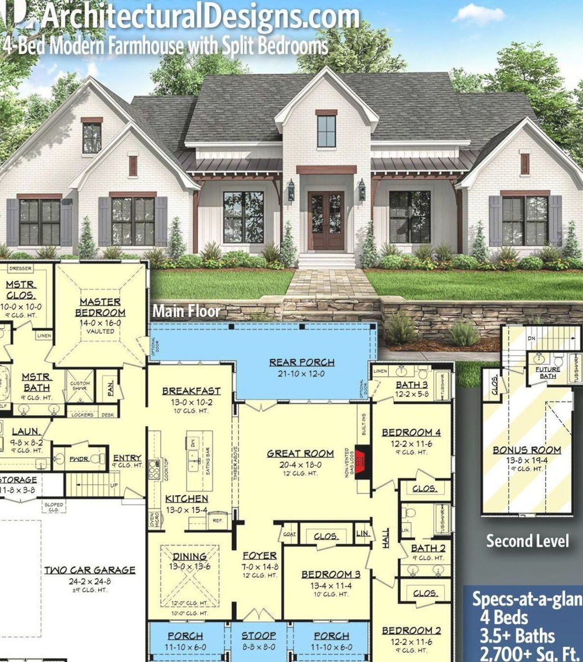 Architectural Designs Southern Farmhouse Home Plan 51809hz With 4 Beds And 3 5 Baths In 2 700 In 2020 Modern Farmhouse Plans House Plans Farmhouse Family House Plans
