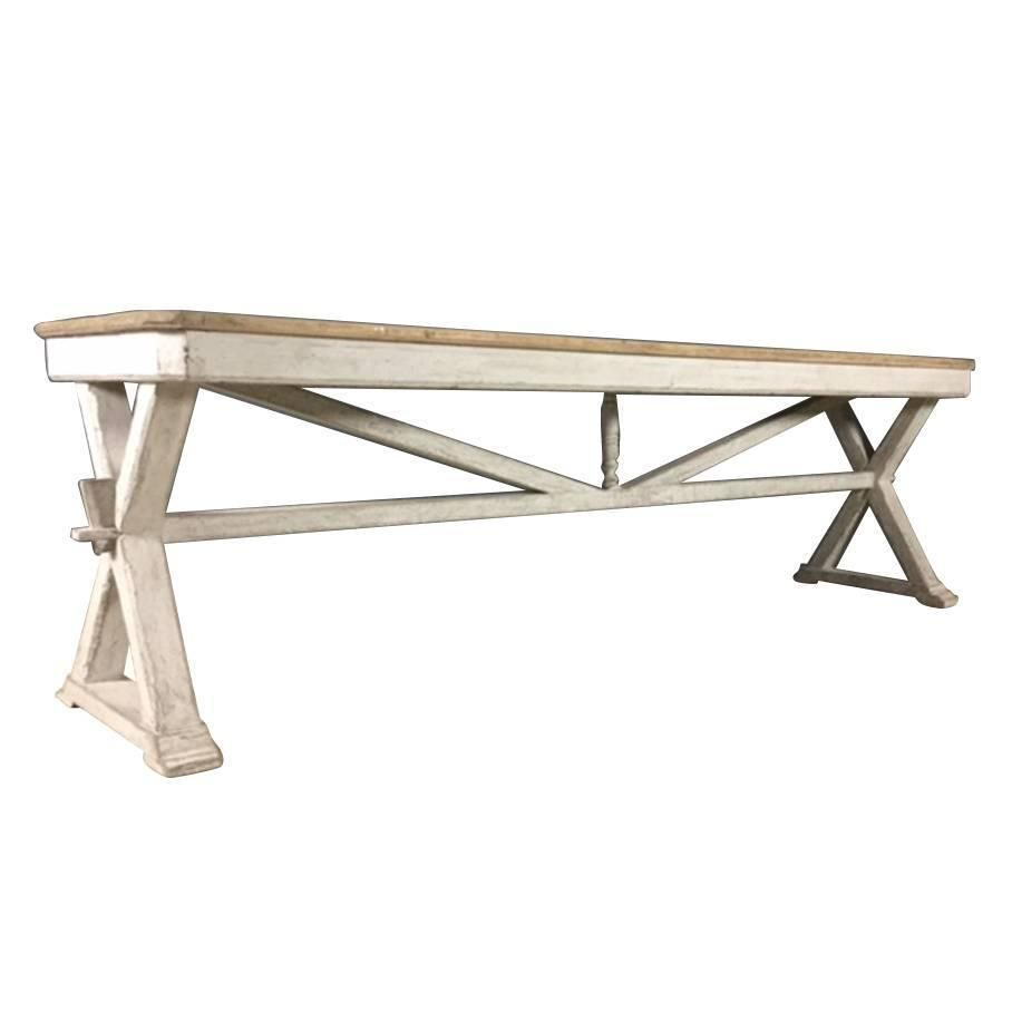 French Antique Trestle Table or Console in Original Paint th