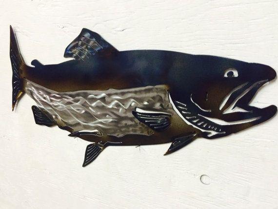 Metal Salmon Wall Hanging 18 5 X 9 5 Wall Hanging Metal Fish Fish Sculpture