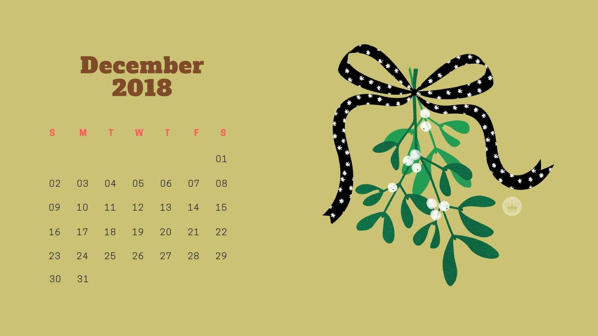 Sweet December 2018 Calendar Wallpaper Background Hd Desktop Screen