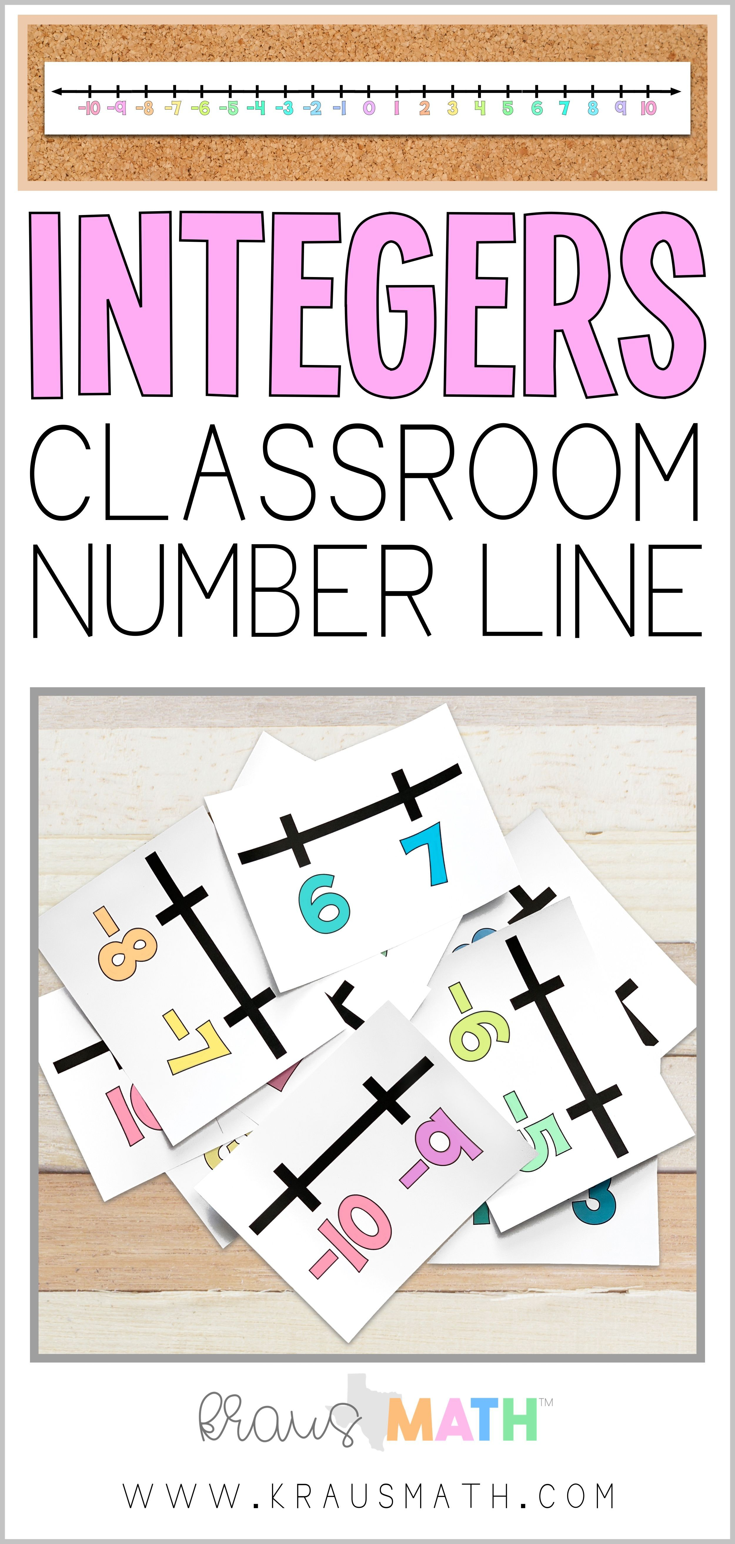 Integers Number Line Large Bulletin Board Size